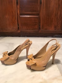 Pair of brown leather open-toe heeled sandals Hawthorne, 90250