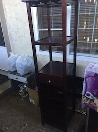 Brown wooden wine cabinet with drawer Nanaimo, V9R 2E4