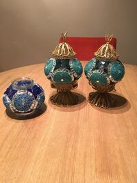 three blue and brown ceramic vases Arlington, 22201
