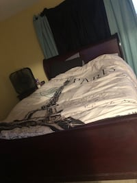 Queen bed set-two night stands -curtains -mattress and box spring