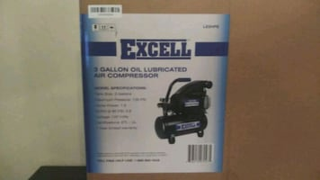 Excell air compressor. Sealed w/ warranty