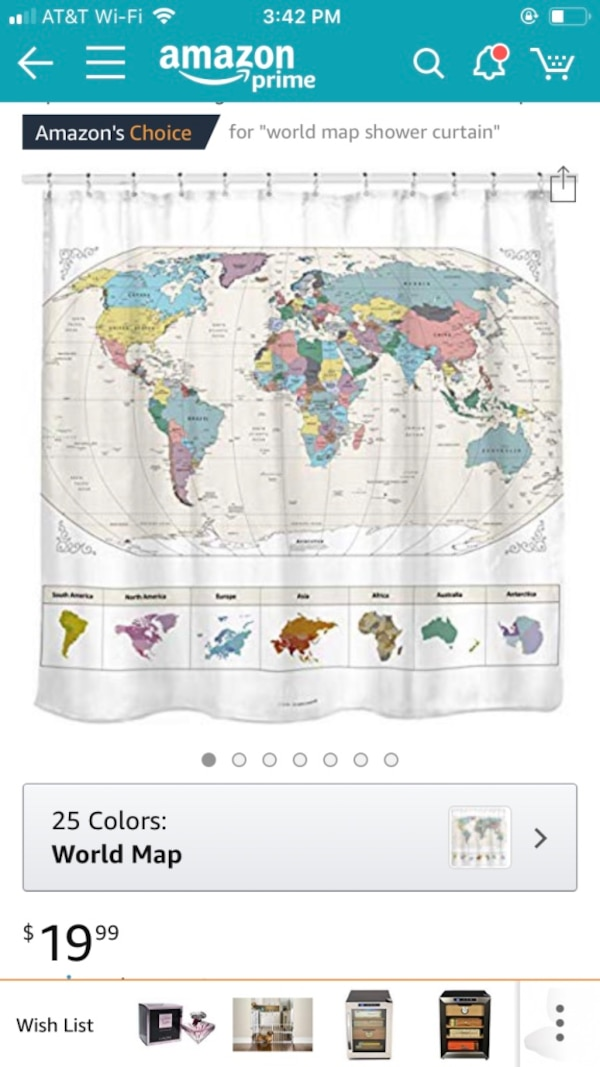 Used World Map Shower Curtain For Sale In College Station