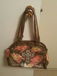 brown and pink floral leather tote bag Medicine Hat