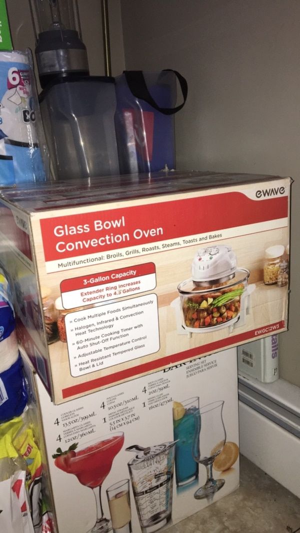 Glass bowl convection oven box  never been used  Great for quick meals and  easy clean up