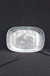 "Leonard, Bread Tray, ""Give Us This Day Our Daily Bread"", Vintage 1970s Hampton"