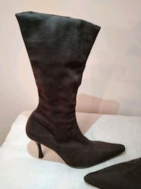 Sexy brown suede stiletto boots