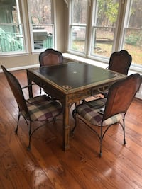 Rectangular game table with leather inlay and four chairs Calhoun, 30701
