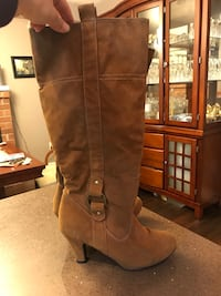 Faux suede tan dress boot - size 8