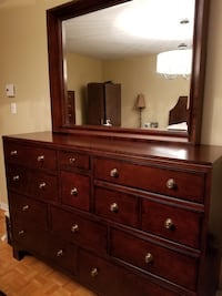 brown wooden dresser with mirror Montréal, H1E 5K7