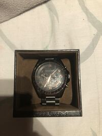 round black chronograph watch with link bracelet Toronto, M6P 4G6