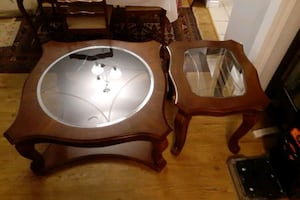 2 WOODEN GLASS TOP COFFEE TABLES