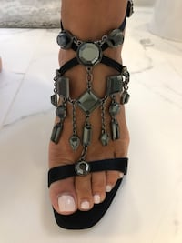 Black satin Marciano evening sandal 5.5 Aurora, L4G 6R6