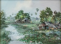 NK Nikit Kampan Oil Painting of Fishing Village--Signed, Framed 548 km