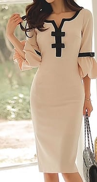 Flare Sleeve Bowknot Embellished Split Neck Beige  Los Angeles, 91602