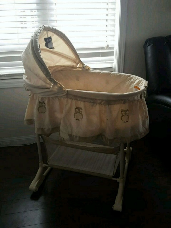 baby's brown bassinet