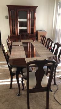 rectangular brown wooden table with six chairs dining set Reston, 20190