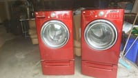 red front-load clothes washer and dryer set Bowie, 20716