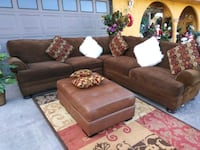 SECTIONAL 3PCS FABRIC BROWN WITH 5PILLOWS CLEAN 2055 mi