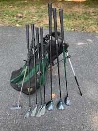 US Kids Golf Clubs and Bag - (Green clubs)