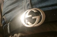 gray and black Gucci leather belt Chantilly, 20151