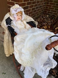 Rare DOLL, ANGELA WEST 229 OF 500  with Rattan vintage Doll Stroller Bowie, 20716