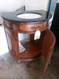 brown wooden framed glass top side table West Des Moines, 50265