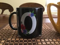 Black coffee mug with letter O and flowers Hercules, 94547