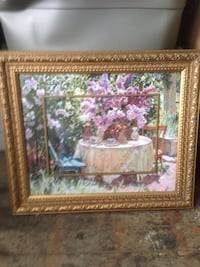 Brown wooden framed painting of famous painted...
