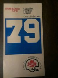 1979 Official CFL Schedule Pickering, L1V 3M9