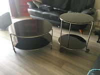 Round black glass coffee table. Stony Plain, T7Z 1C2