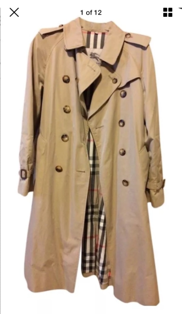 7a37bb52cac Burberry Tan Double Breasted Button Down REMOVABLE Lined Camel Hair and  Wool Trench Coat Size 10 ex-long