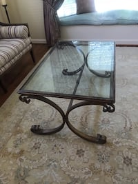 Glass-Top coffee table with brushed gold legs  26 mi