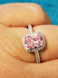 Silver CZ and Pink Sapphire Ring Size 8 Fort Worth, 76116