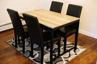 JYSK Lulea Dining Table wit 4 Leather Chairs ORBE 3733 km