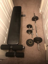 Hybrid bench for weight lifting + 125 LBS weights. Alexandria, 22306