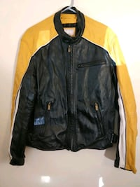 Size large leather motorcycle jacket Black and yellow the zipper front Hyattsville, 20784