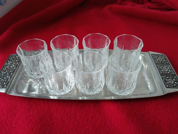 small crystal cups w/ tray