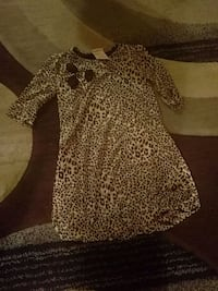 Girls brown and black leopard print dress 546 km