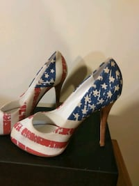 Euro size 39 USA 8.5 bicentennial flag peep toe pumps shoes red white  Hyattsville, 20784