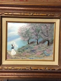"""Painting by Jean Lucey Enamel on Copper-Framed 16"""" by 18"""" Art Barre"""