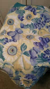 blue and yellow floral cotton table cloth
