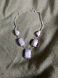 White and grey howlite necklace brand new