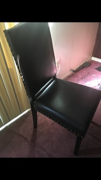 black leather padded chair with brown wooden frame Upper Marlboro, 20774