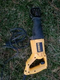 black and yellow DEWALT corded reciprocating saw