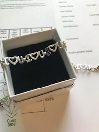 "925 Silver and diamond ""I  Love You"" Bracelet bracelet Toronto"