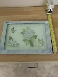 white flowers on bloom with butterfly painting