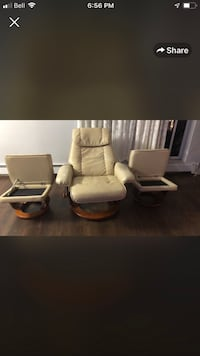 white leather padded rolling chair London, N6K 1L4
