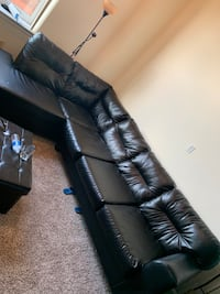 8+ seater leather black sectional