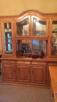 Solid oak china hutch. Lights up excellent condition Monroe, 08831