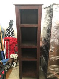 2 Tall shelving units, cherry wood, $50 for both  Loganville, 30052